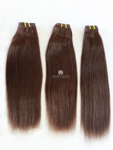 #2 Dark Brown Yaki Straight Indian Hair Weave 3pcs Bundles[CS15]
