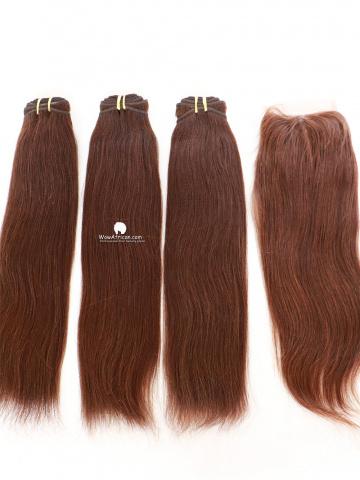 #4 Light Brown Yaki Straight Indian Hair Closure With 3pcs Weaves[CS16]