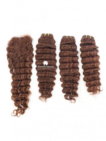 #4 Light Brown Deep Wave Indian Hair Silk Closure With 3pcs Weaves[CS21]