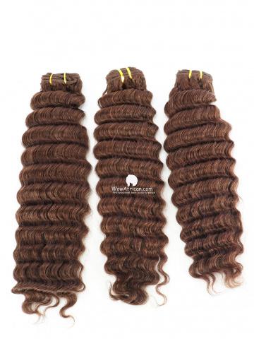 #4 Light Brown Deep Wave Indian Hair Weave 3pcs Bundles[CS22]