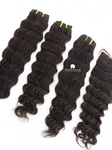 #1B Off Black Deep Wave Indian Hair Silk Closure With 3pcs Weaves[CS24]