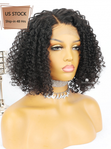 American Stock-Black Curly BOB Human Virgin Hair Lace Front Wig [CBW26US]