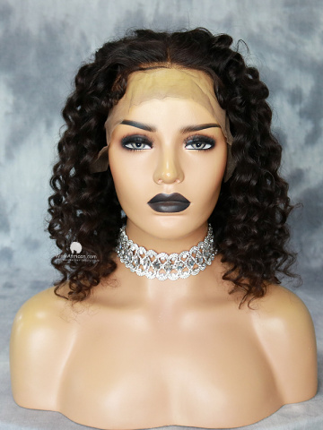 Deep Wave Virgin 5in Front Lace Wigs Brazilian Hair [MS12]