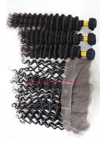 Deep Wave Virgin Brazilian Hair Lace Frontal with 3pcs Weaves[WB248]
