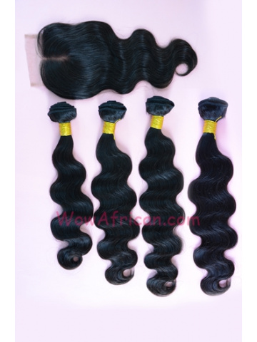 Malaysian Virgin Hair Body Wave A Lace Closure with 4pcs Weft Bundles[WB198]