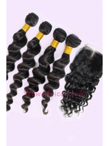 Milan Curl Peruvian Virgin Hair 3.5X4inches Middle Part Closure with 4pcs Weaves[WB246]