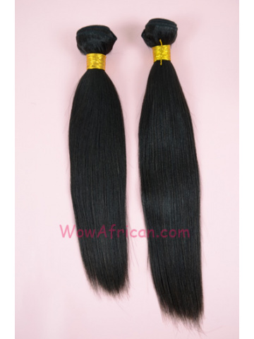 Natural Color Yaki Straight Brazilian Virgin Hair Weave 2pcs Bundle[WB40]