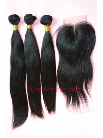 Indian Virgin Hair Silky Straight A Lace Closure with 3pcs Weaves Bundles