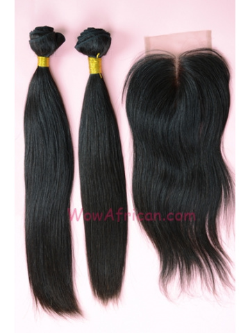 Indian Virgin Hair Silky Straight A Lace Closure with 2pcs Weaves Bundles[WB169]