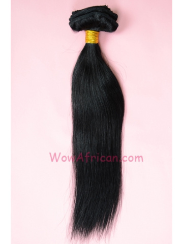 #1Jet Black 10Pcs Silky Straight Indian Remy Hair Clip In Hair Extensions[CPI01]