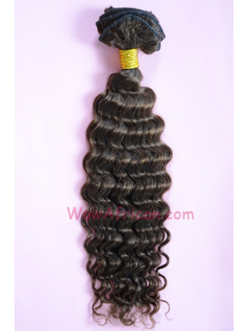 01#4 Medium Brown10Pcs Deep Wave Indian Remy Hair Clip In Hair Extensions[CPI16]