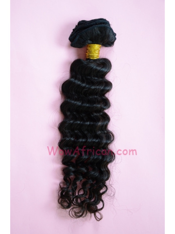 01Natural Color Deep Wave Brazilian Virgin Clip In Hair Extensions[CPC04]