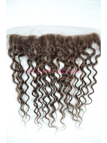 #4 Medium Brown Water Wave Indian Remy Hair Lace Frontal [LF16]