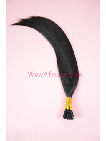 Brazilian Virgin Hair Natural Color Silky Straight Stick Tip Hair Extensions[FH04]