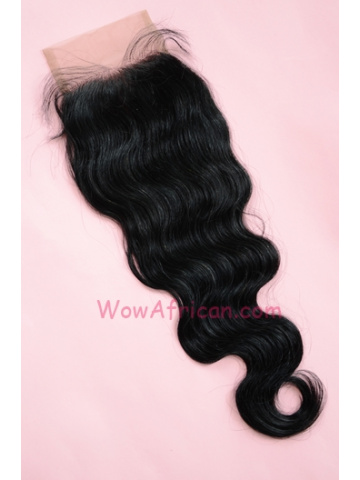 #1Jet Black Body Wave Indian Remy Hair Silk Base Closure 4x4inches [SC02]
