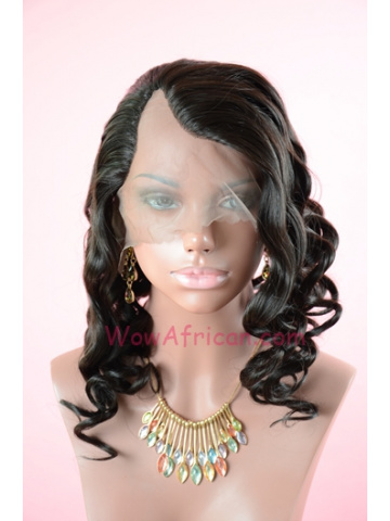 #1B Off Black Body Wave Indian Remy Hair U Part Wigs[UPW03]