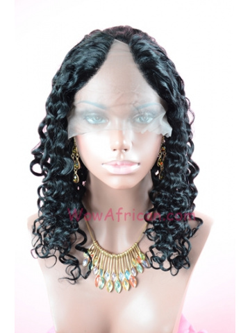 #1Jet Black Water Wave Indian Remy Hair U Part Wigs[UPW05]