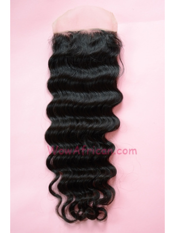 Natural Color Deep Wave Brazilian Virgin Hair Lace Closure 4x4inches [LC24]