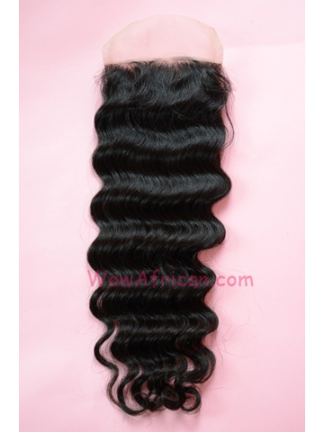 Natural Color Deep Wave Brazilian Virgin Hair Silk Base Closure 4x4inches [SC24]