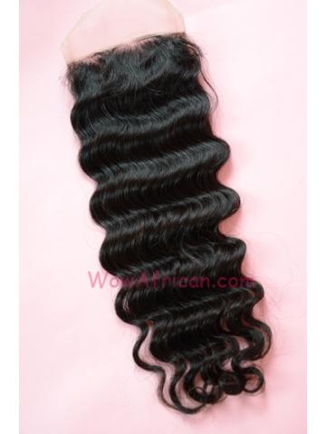 Natural Color Deep Wave European Virgin Hair Lace Closure 4x4inches[LC34]
