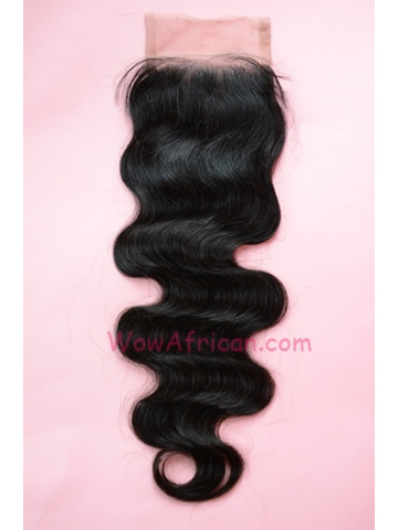 Natural Color Body Wave Brazilian Virgin Hair Silk Base Closure
