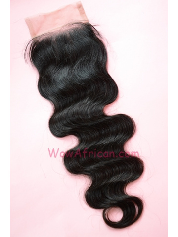 Natural Color Body Wave Brazilian Virgin Hair Silk Base Closure 4x4inches [SC23]