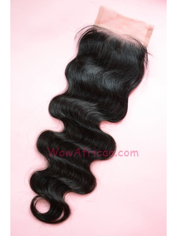 Natural Color Body Wave Peruvian Virgin Hair Silk Base Closure 4x4inches [SC28]