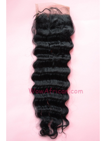 #1Jet Black Deep Wave Indian Remy Hair Silk Base Closure 4x4inches [SC03]