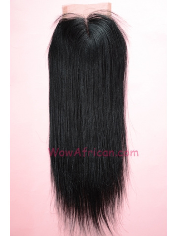 Middle Part Lace Closure 4x4inches Yaki Straight Indian Remy Hair  [MC02]