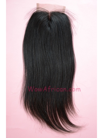 Middle Part Lace Closure 4x4inches Natural Color Yaki Straight Brazilian Virgin Hair  [MC04]