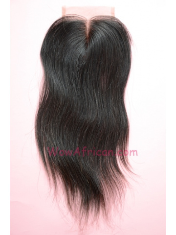 Middle Part Lace Closure 4x4inches Natural Color Silky Straight Brazilian Virgin Hair  [MC06]