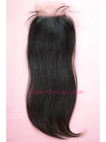 Natural Color Silky Straight Peruvian Virgin Hair Lace Closure 4x4inches [LC26]