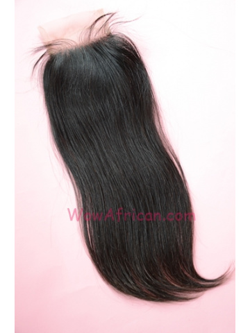 Natural Color Silky Straight Brazilian Virgin Hair Lace Closure 4x4inches [LC21]