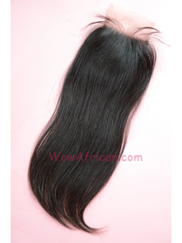 Natural Color Silky Straight Brazilian Virgin Hair Silk Base Closure 4x4inches [SC21]