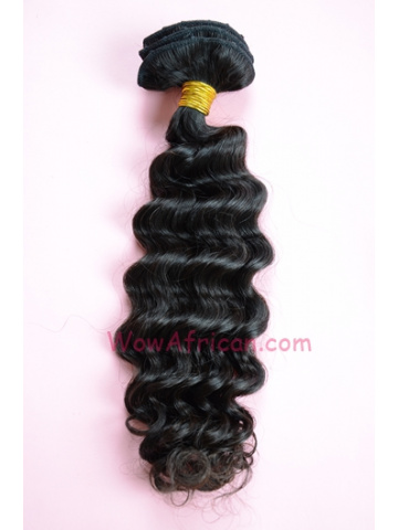 Natural Color 8Pcs Deep Wave Brazilian Virgin Hair Clip In Hair Extensions[CPB09]