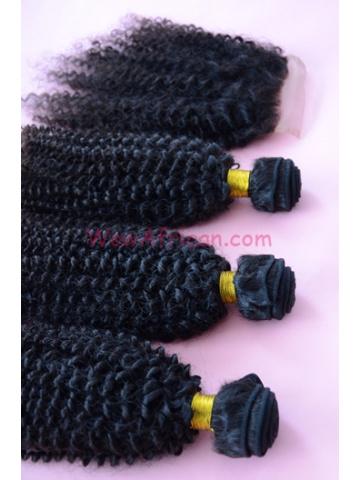 Brazilian Virgin Hair Peruvian Curl A Silk Base Closure with 3pcs Weft Bundles