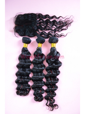 Brazilian Wave Brazilian Virgin Hair 3.5X4inches Middle Part Closure with 3pcs Weaves[WB14]