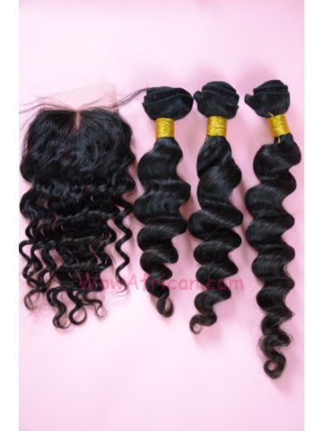 Milan Curl Brazilian Virgin Hair 3.5X4inches Middle Part Closure with 3pcs Weaves[WB15]