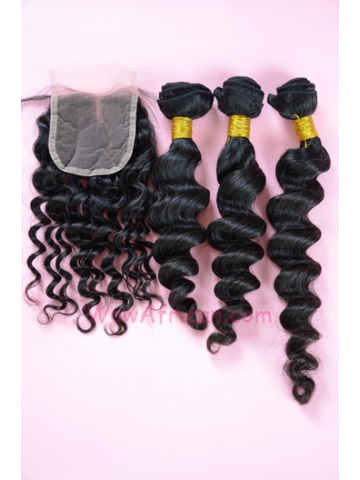 Indian Virgin Hair Milan Curl A Lace Closure with 3pcs Weaves Bundles