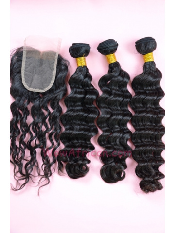 Indian Virgin Hair Brazilian Wave A Lace Closure with 3pcs Weaves Bundles