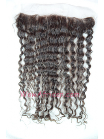 #2 Dark Brown Deep Wave Indian Remy Hair Lace Frontal 13X2inches [LF10]