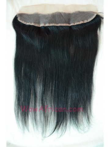 #1Jet Black Silky Straight Indian Remy Hair Lace Frontal 13X2inches [LF01]