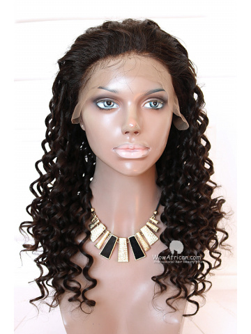 Natural Color Long Curly Brazilian Virgin Hair Full Lace Wigs[FLW31]