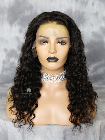 18in 130% Density Natural Color Milan Curl Virgin Brazilian Glueless Front Lace Wig[WCS181]