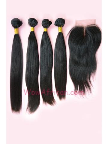 Peruvian Virgin Hair Silky Straight A Silk Base Closure with 4pcs Weft Bundles