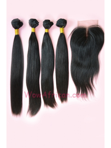 Indian Virgin Hair Silky Straight A Lace Closure with 4pcs Weaves Bundles[
