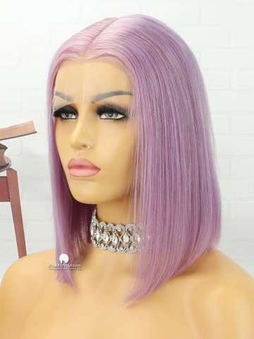 10in Light Purple Straight Bob Lace Front Lace Wigs Brazilian Hair [MS181]
