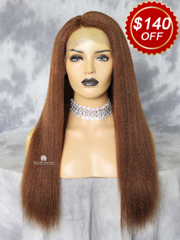 20in Light Brown Kinky Straight Brazilian Virgin Hair Lace Front Wig[WCS185]