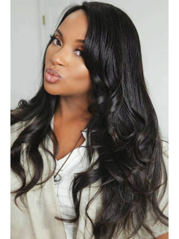 MyInvisibleChyrsalis Natural Black Straight Virgin Hair Glueless Full Lace Wigs[GFL06M]