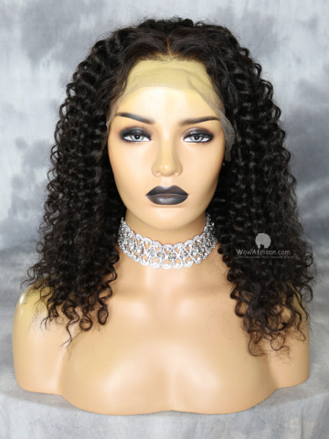 18in Natural Color Alyssa Inspired Curls Virgin Brazilian Glueless Lace Front Wig[WCS121]